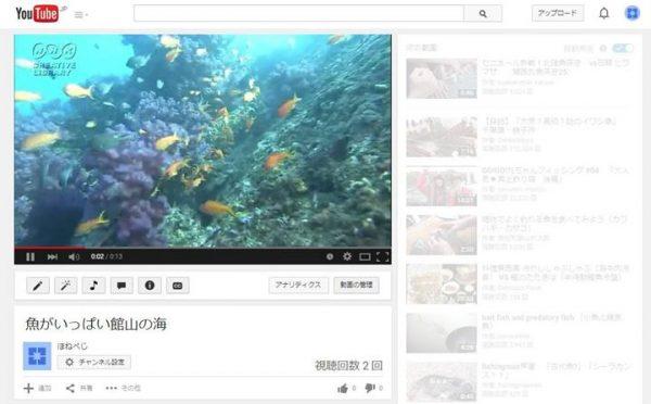 youtubeの動画公開ページ